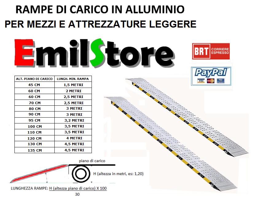 Rampe di carico in alluminio 1 5 metri senza bordi prezzo for Rampe di carico in alluminio pieghevoli