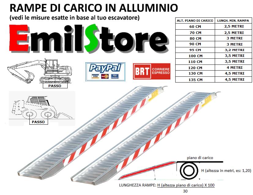 RAMPE DI CARICO ALLUMINIO 4 METRI H190 (PREZZO COPPIA) - www.emilstore.it