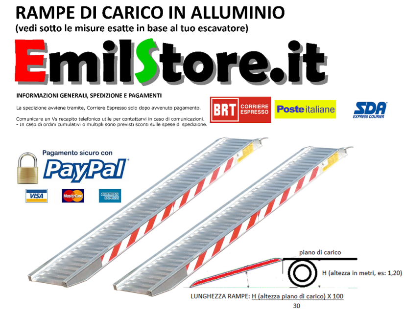 Rampe Di Carico In Alluminio 3 Metri Montante H115 Per